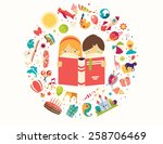 imagination concept  boy and... | Shutterstock .eps vector #258706469