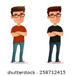 funny cartoon guy with his arms ... | Shutterstock .eps vector #258712415