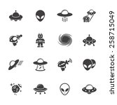 Alien Icons Set.