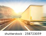 generic semi trucks speeding on ... | Shutterstock . vector #258723059