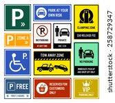 car park parking signboards   Shutterstock .eps vector #258729347