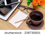laptop and cup of coffee with... | Shutterstock . vector #258730001