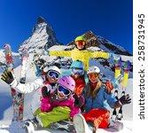 ski  winter  snow   family... | Shutterstock . vector #258731945