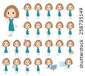 set of various poses of... | Shutterstock .eps vector #258735149