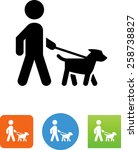 Stock vector person walking a dog on a leash icon 258738827
