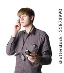 Young man with telephones - stock photo