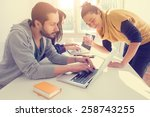 young group of people doing... | Shutterstock . vector #258743255