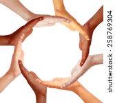 Small photo of Hands circle, international teamwork concept