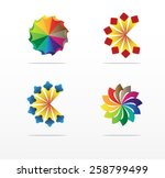 set of abstract floral symbols | Shutterstock .eps vector #258799499