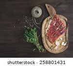 cured pork meat or prosciutto... | Shutterstock . vector #258801431