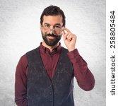 man wearing waistcoat with... | Shutterstock . vector #258805484
