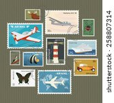 retro postage stamps collection ... | Shutterstock . vector #258807314