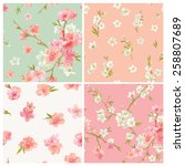 set of spring blossom flowers... | Shutterstock .eps vector #258807689
