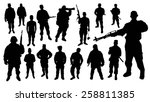 soldier silhouettes | Shutterstock .eps vector #258811385