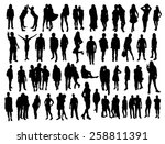 people silhouettes | Shutterstock .eps vector #258811391