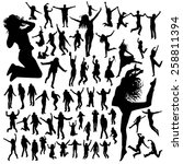jumping people silhouettes | Shutterstock .eps vector #258811394