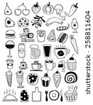 hand drawn food objects | Shutterstock .eps vector #258811604