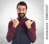 man wearing waistcoat with... | Shutterstock . vector #258813167