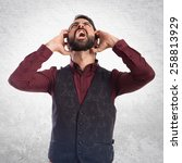 frustrated man wearing waistcoat | Shutterstock . vector #258813929