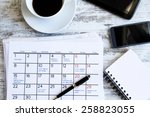 checking monthly activities and ... | Shutterstock . vector #258823055