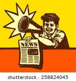 vintage newspaper boy shouting... | Shutterstock .eps vector #258824045