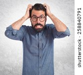 frustrated young hipster man...   Shutterstock . vector #258840791