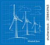 wind farm is a series of wind... | Shutterstock .eps vector #258843965