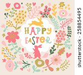 awesome happy easter card in... | Shutterstock .eps vector #258854495