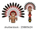 totem indian chief   Shutterstock .eps vector #25885624