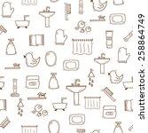 seamless hand drawn bathroom... | Shutterstock .eps vector #258864749