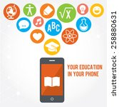 your education in phone. set of ... | Shutterstock .eps vector #258880631