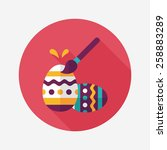 Easter Egg Flat Icon With Long...