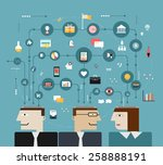 business people connect with... | Shutterstock .eps vector #258888191