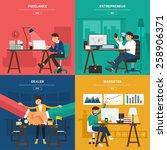 flat design concept coworking... | Shutterstock .eps vector #258906371