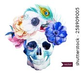 watercolor  flowers  skull ... | Shutterstock .eps vector #258909005