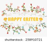 happy easter cards with floral... | Shutterstock .eps vector #258910721