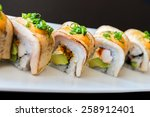 sushi roll healthy food  ... | Shutterstock . vector #258912401