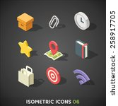 flat isometric icons set 6 | Shutterstock .eps vector #258917705