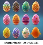 set of realistic eggs on blue... | Shutterstock .eps vector #258931631