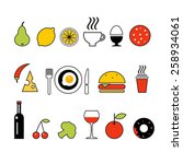 vector line color food icons | Shutterstock .eps vector #258934061
