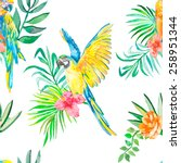macaw seamless pattern. palm... | Shutterstock . vector #258951344