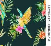 macaw seamless pattern. palm... | Shutterstock . vector #258951359