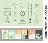 set of geometric shapes and six ... | Shutterstock .eps vector #258955181