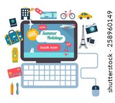 summer holiday vacation booking ... | Shutterstock .eps vector #258960149