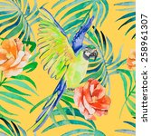 tropical birds and plants...   Shutterstock . vector #258961307