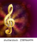 golden musical key with notes  | Shutterstock .eps vector #258966494