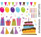 birthday party elements | Shutterstock .eps vector #258971351
