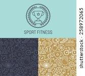 vector sport badge and seamless ... | Shutterstock .eps vector #258972065