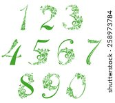 floral numbers set isolated on... | Shutterstock .eps vector #258973784