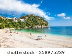 beautiful valtos beach near... | Shutterstock . vector #258975239